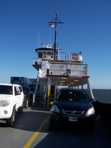 The sturdy little Mrs Mig2 on the Ocracoke ferry.