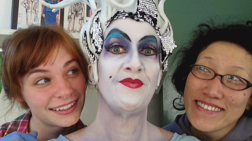 The finished Ursula and her creators:  Gracie Jones, me and Pei Lee.