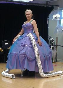 """Rehursula"" - an old ball gown and flexible aluminum duct."